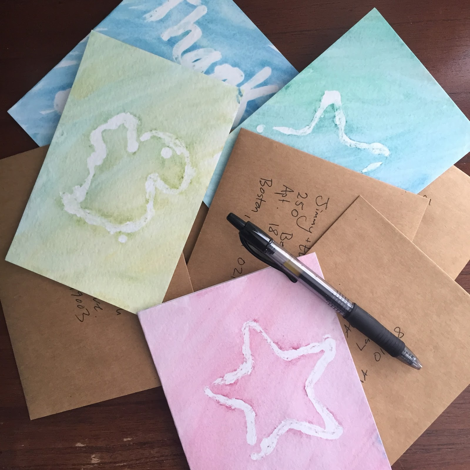 wax resist watercolor thank you cards