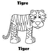 Mas animales en ingles español para colorear tigre colorear ingles espaã±ol