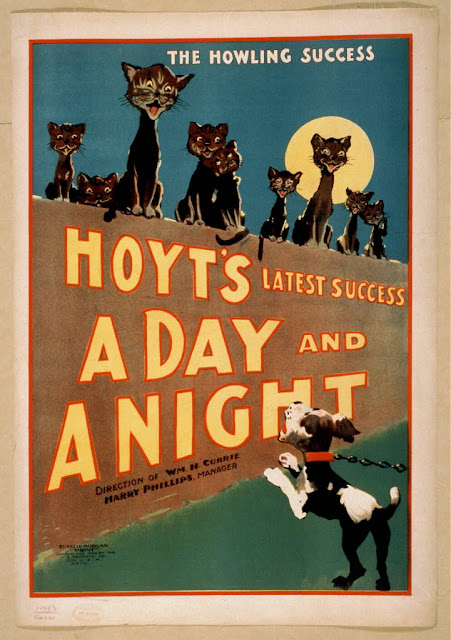 classic posters, free download, graphic design, movies, retro prints, theater, vintage, vintage posters, animal poster, cat, dog, wildlife, The Howling Success, Hoyt's A Day and A Night - Vintage Theater Poster