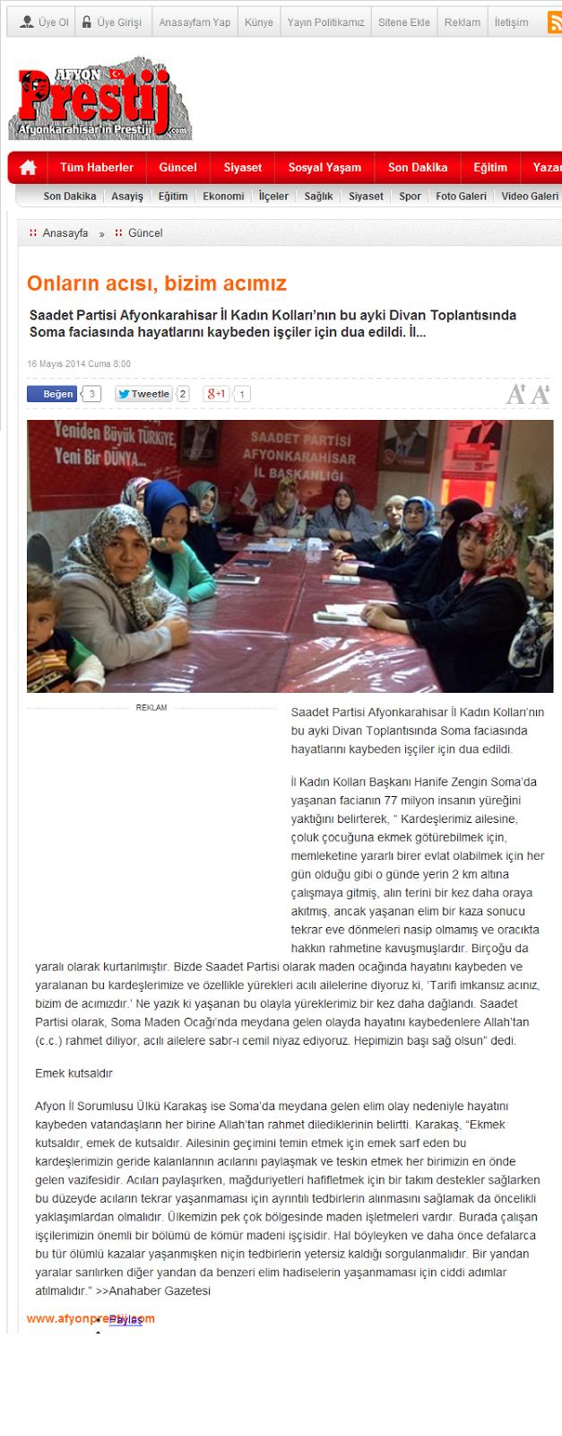 Saadet Partisi Afyon Il Kadın Kolları Afyon Prestij Haber