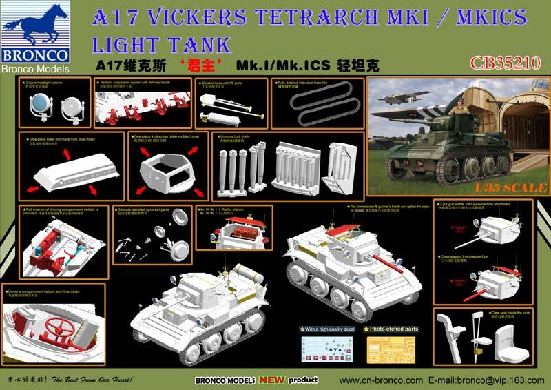 Bronco CB35210 1//35  A17 Vickers Tetrarch Mk.I//Mk.ICS Light Tank