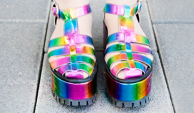 YRU, rainbow shoes, platform sandals