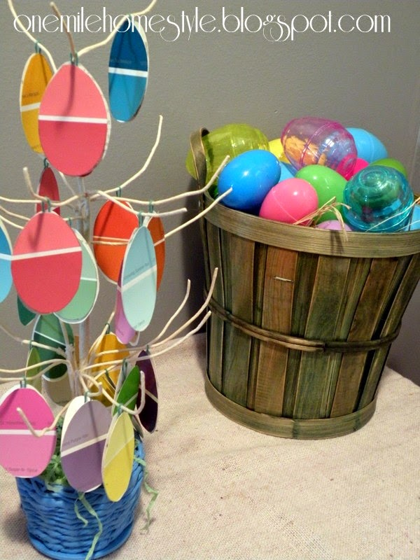Paintchip Easter Tree and basket of Easter eggs