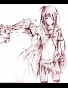 Machine Anime Girl. Quick Sketching. Based on original image.