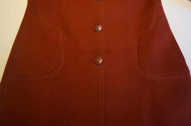 un manteau laine rouille des années 70 vintage   70s wool rust coat 1970 topstitich stitching