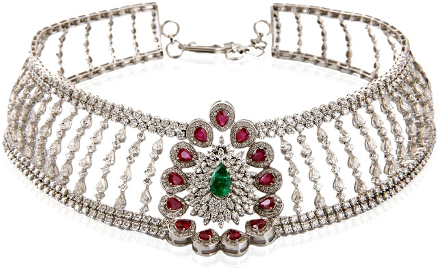 Entice Ruby, Emerald diamond floral choker in white gold