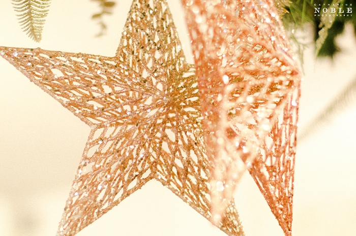 gold rose gold copper glitter star decorations