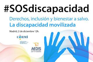 Cartel de la convocatoria de hoy 2 de diciembre por la defensa de los derechos de las personas con Discapacidad