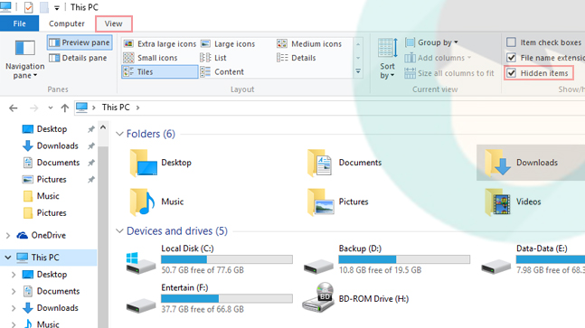 Tampilkan file, folder, dan drive yang tersembunyi