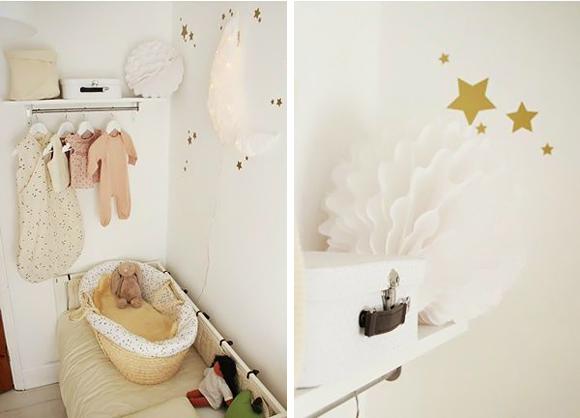 Decoraci n habitaci n beb estrellas doradas trendy for Tablero del deco del sitio del bebe
