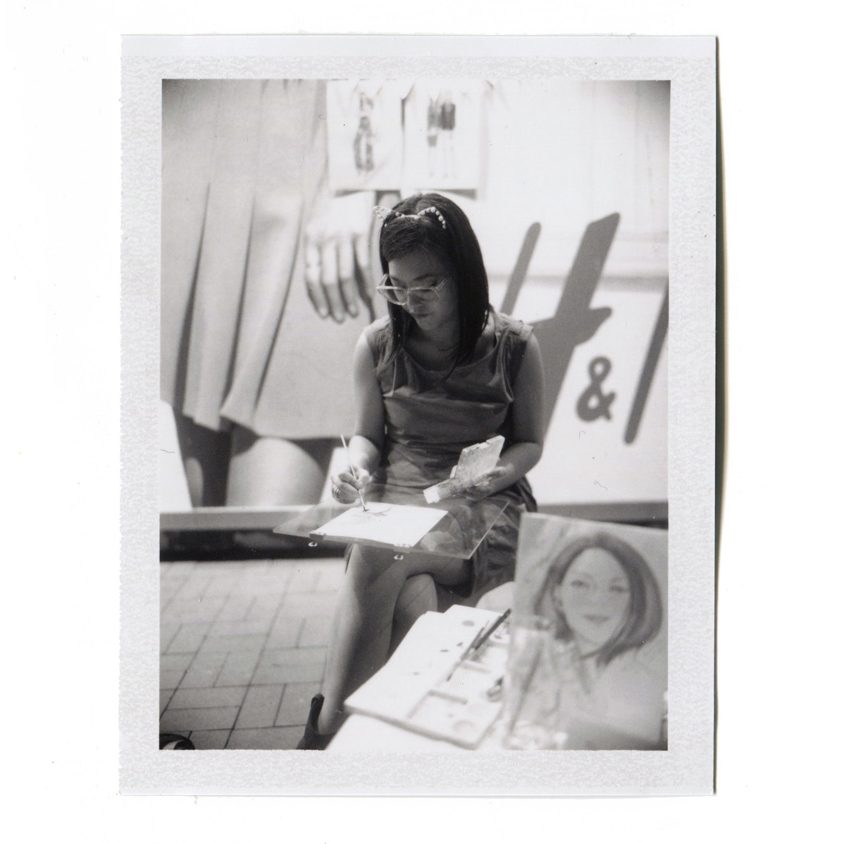 Kitty N. Wong / Polaroid of live sketch in Hong Kong