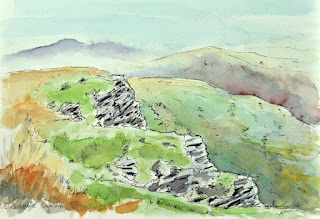 Black Combe Cumbria ink and watercolour sketch