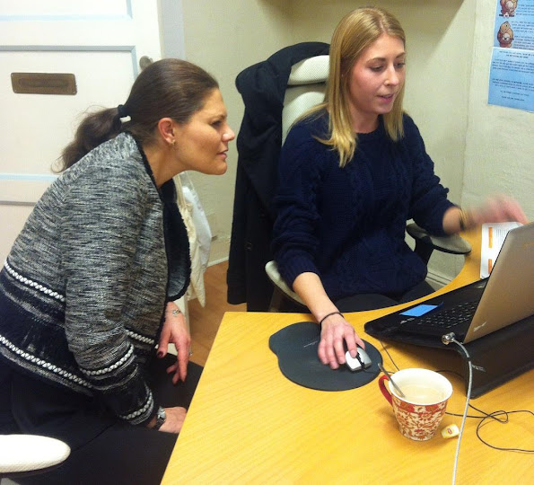 Crown Princess Victoria of Sweden visited Tjejzonen's office in Stockholm