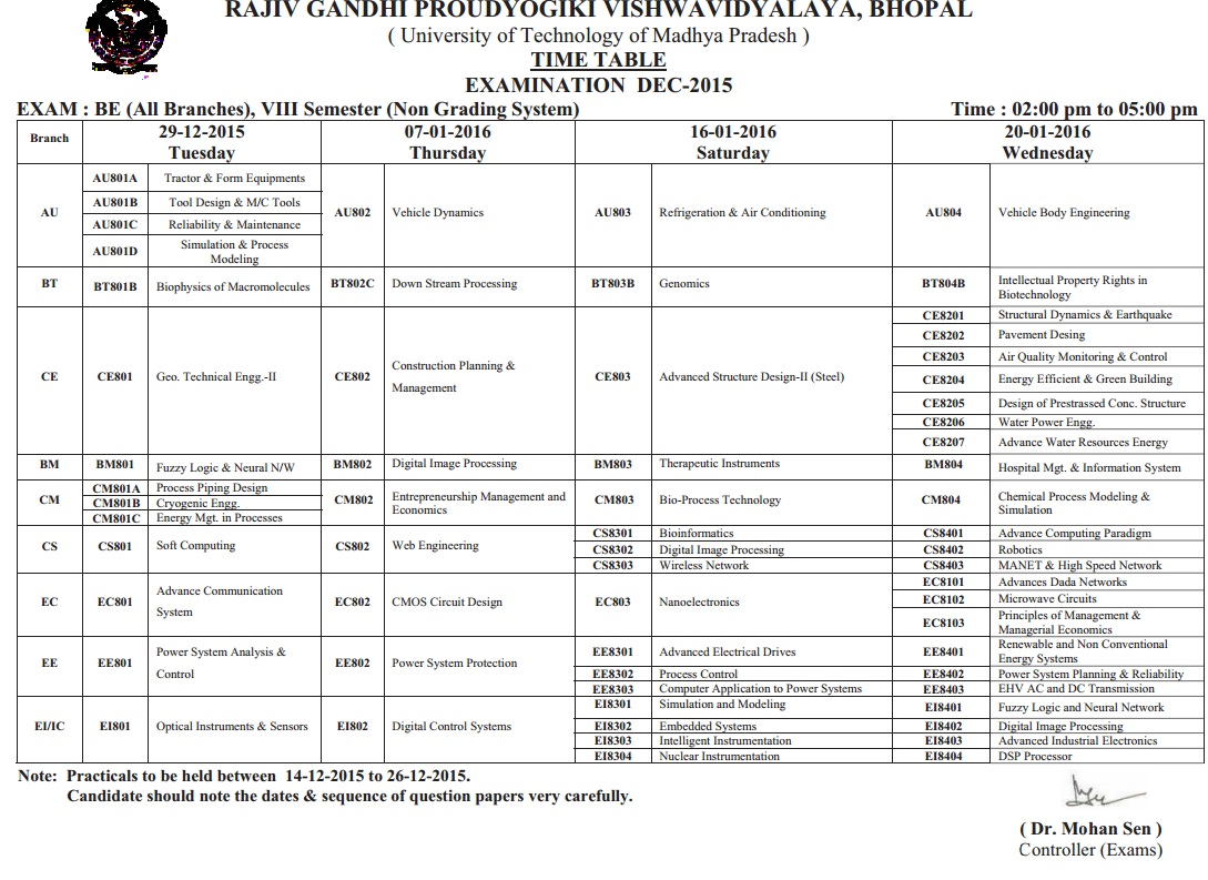 Rgpv b e 8th sem non grading exam time table 2015 2016 for Rgpv time table 6th sem 2015