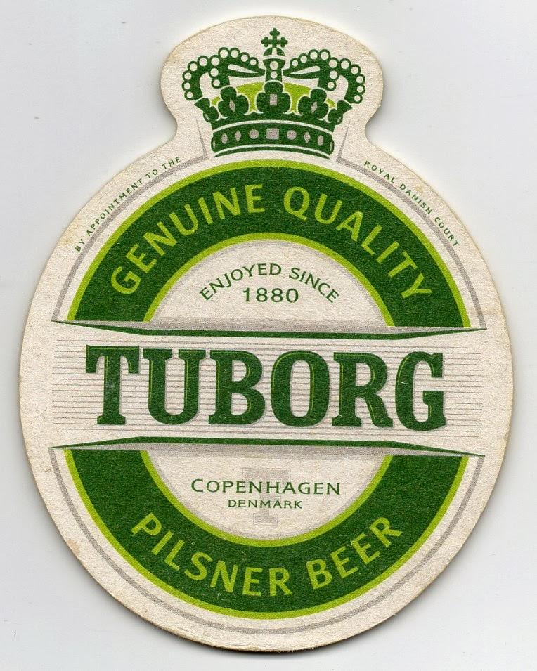 recto du sous-bock de la bière danoise Tuborg