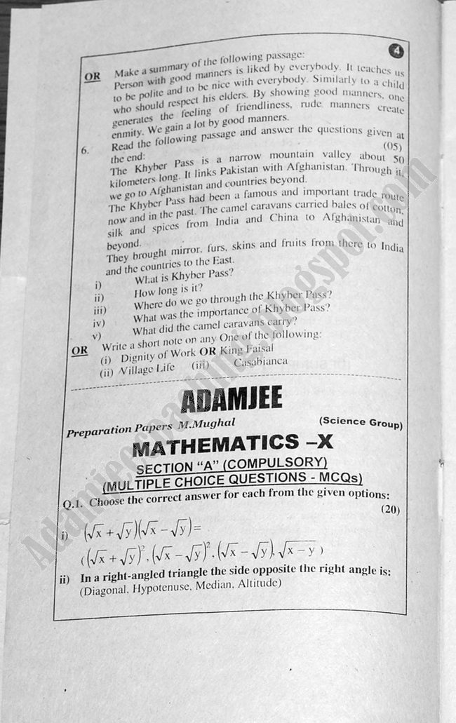 Mathematics Guess Papers Science Group X Class 2013