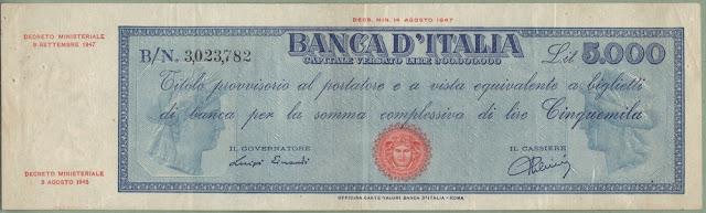 Italia 5000 Lire Titolo provvisorio 1947 P# 86a