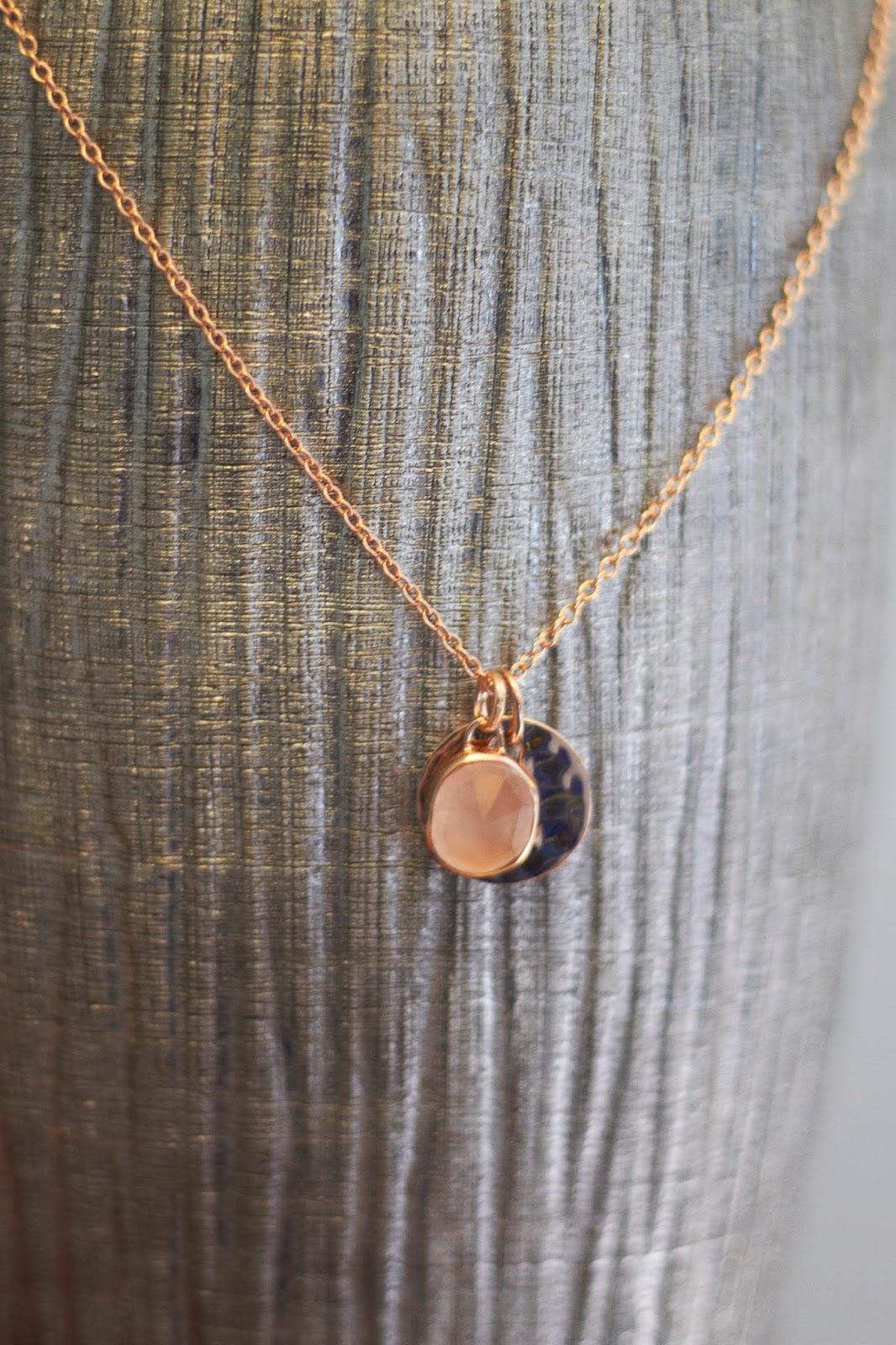 Monica Vinader jewellery rose gold rose quartz necklace