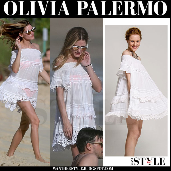 Olivia Palermo in white lace ruffled mini dress from muche et muchette beach style what she wore