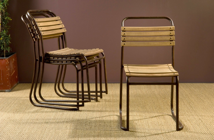 The New Victorian Ruralist Wood And Iron Stacking Chairs