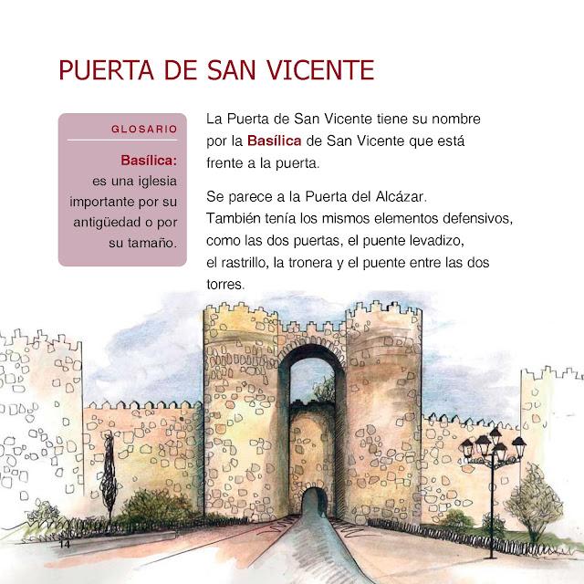 Página con imagen de la puerta a color, glosario en fondo rosa en el margen izquierdo y texto explicativo con el contenido: La Puerta de San Vicente tiene su nombre por la Basílica de San Vicente que está frente a la puerta. Se parece a la Puerta del Alcázar. Etc.