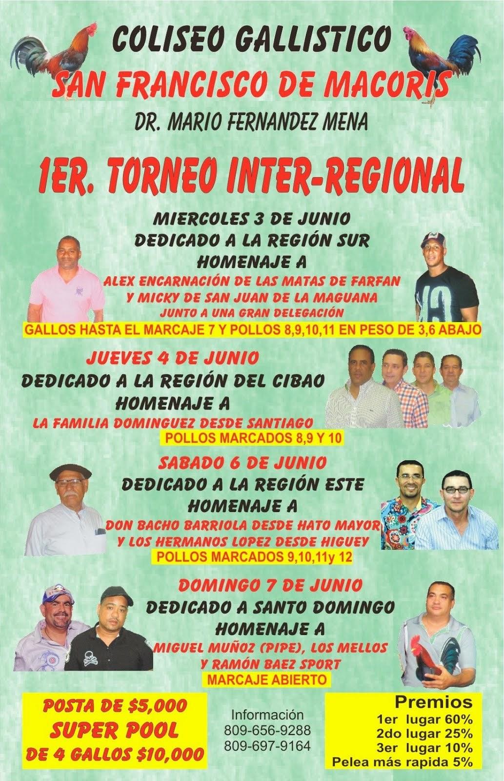 GRAN TORNEO INTER-REGIONAL EN SAN FCO. MACORIS DEL 3 AL 7 DE JUNIO 2015