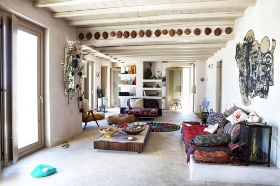 A bohemian rental villa for summer vacation in Lychnaftia beach, Tinos island, Aegean. #Greece