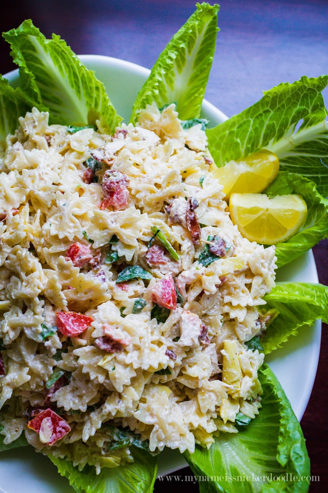 Chicken, Bacon and Artichoke Pasta Salad recipe.  |  My Name Is Snickerdoodle