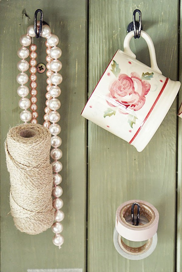 Pink and Lilac Shabby Chic Hanging Cup and Pearls