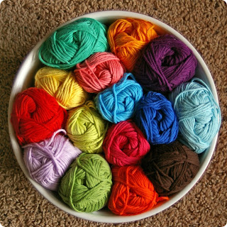 colorful basket of yarn