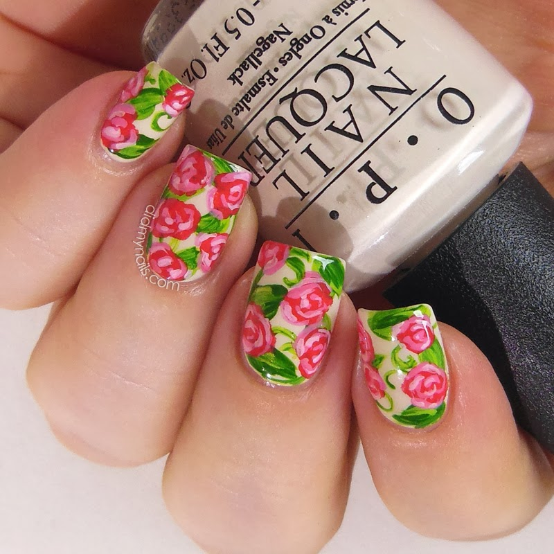 Did my nails rose nail art in raspberry pink rose nail art prinsesfo Choice Image