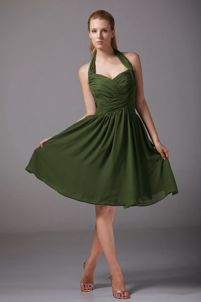 Short, olive-colored bridesmaid dress