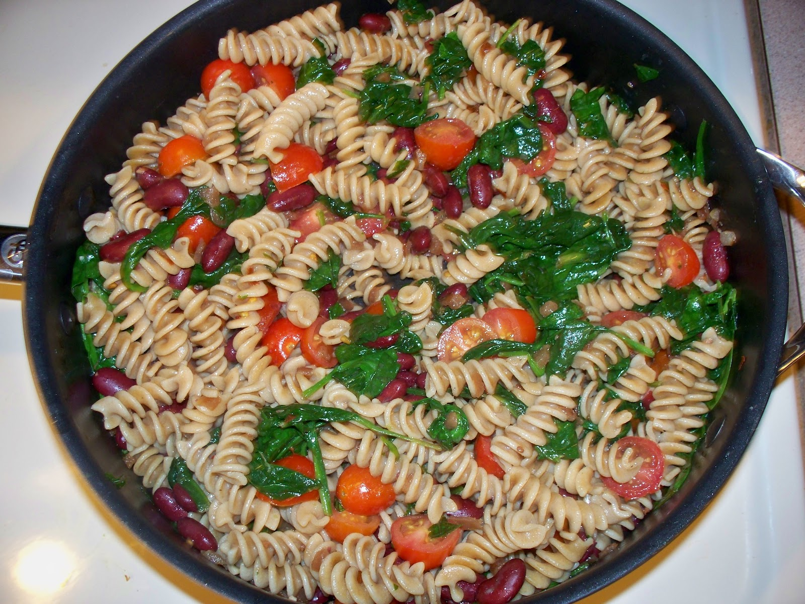 made this pasta salad with whole grain rotelle pasta cherry tomatoes ...