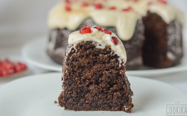 carob cake with ginger, spices and cream cheese gingerbread frosting