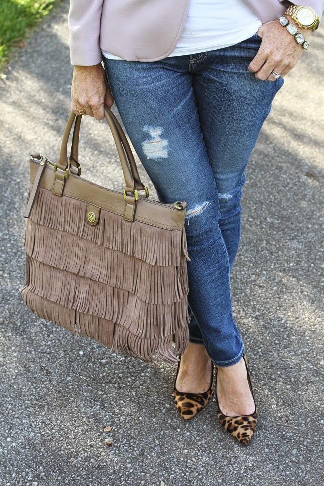 AG jeans, Tory Burch tote, JCrew leopard heels, JCrew Factory  bracelet