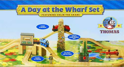 Learning adventure Thomas and friends Wooden Railway a Day at the Wharf set with Colin the crane toy