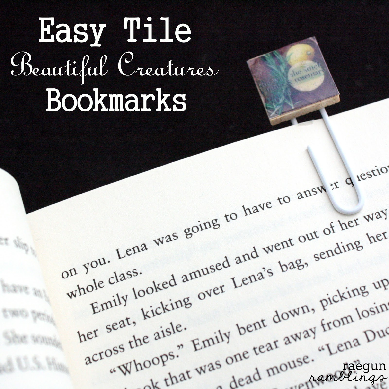 book club: beautiful creatures movie, tile bookmarks, candy bags