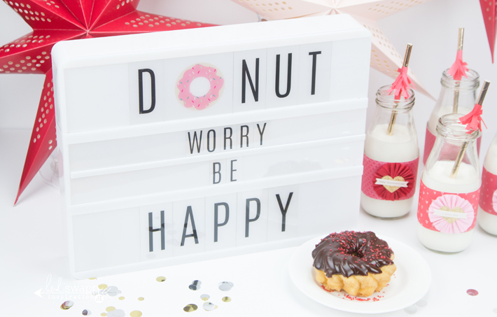 """I also used the double track for the middle to add the """"worry be"""" with the smaller letters. I love how the Lightbox is so easy to customize for any party!"""