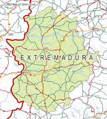 Extremadura Tourism Map Area