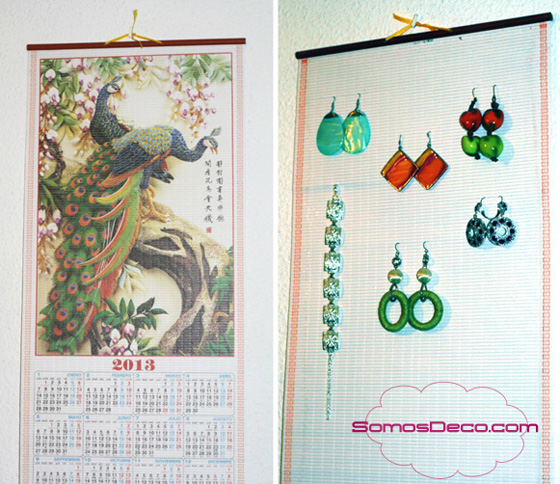 organizador de pendientes con calendario chino