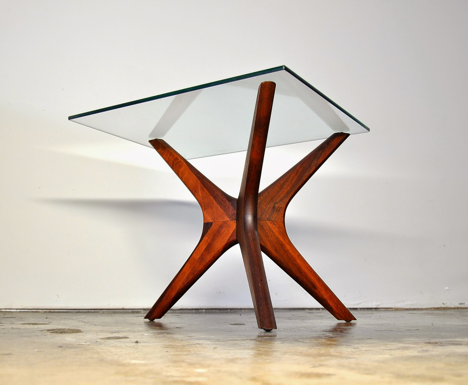 Adrian Pearsall Side Table Glass Top Walnut Coffee Table By
