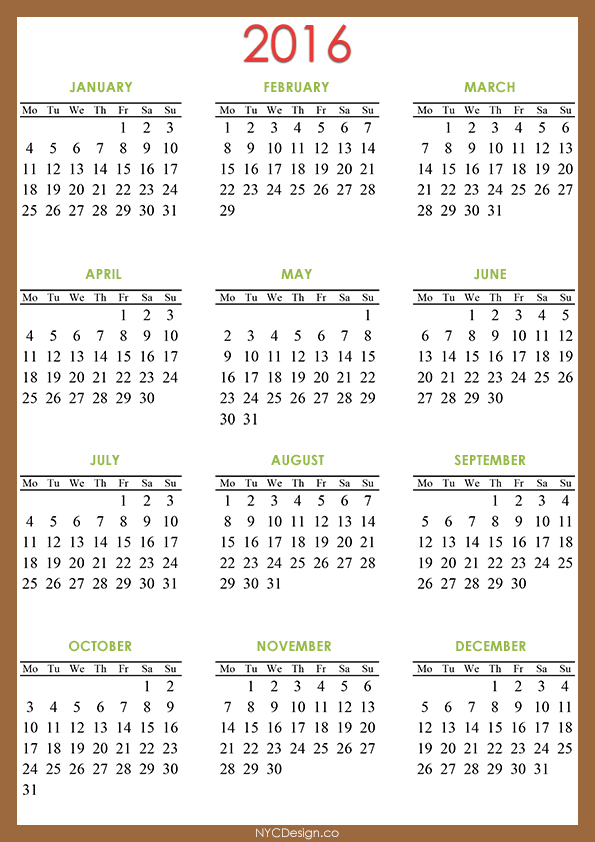 2016 calendar printable 8 x 11 calendar template 2016