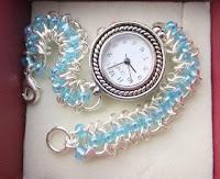 handmade chainmaille beaded bracelet watch