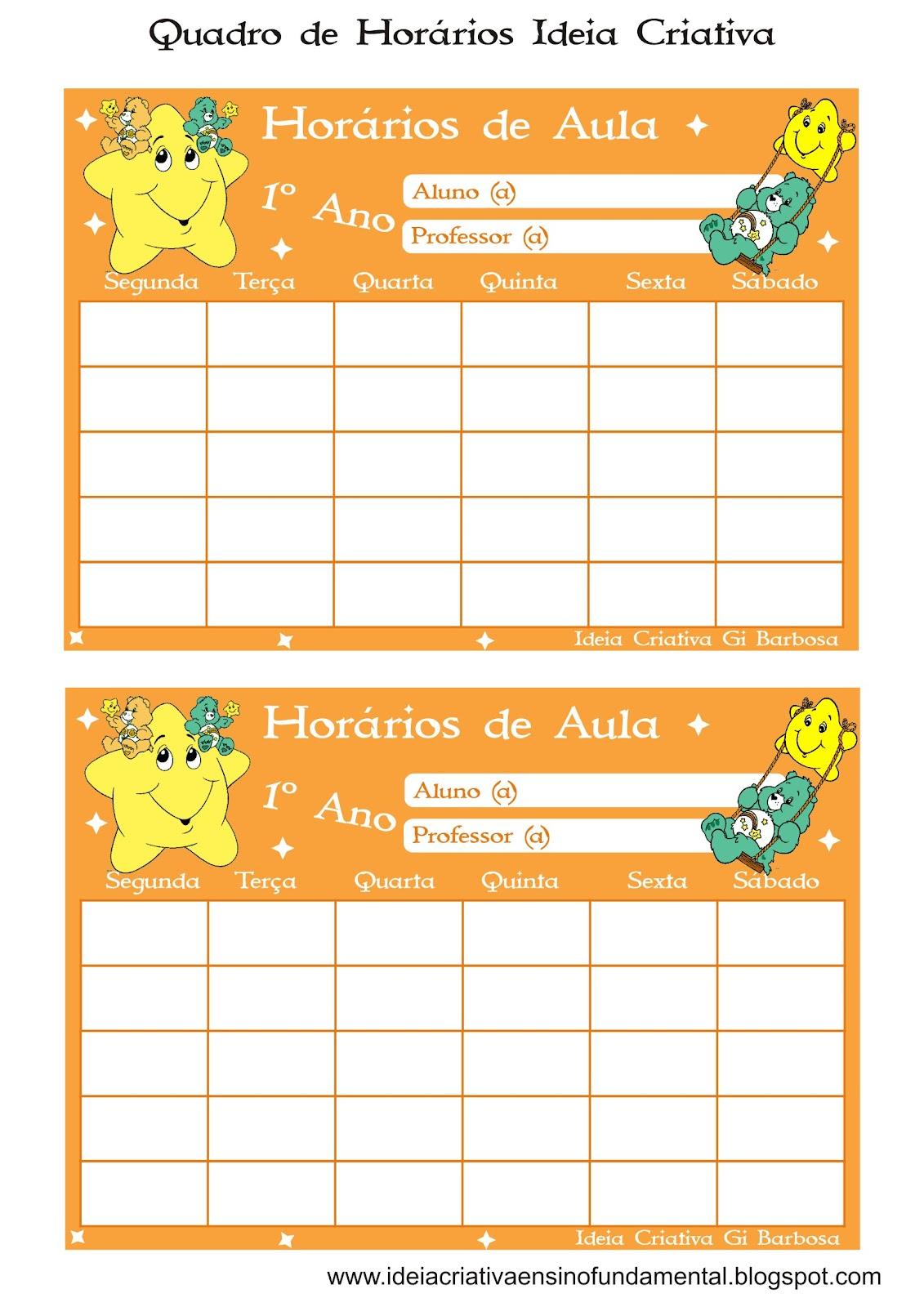 Quadros de Horário 1º Ano / Sapinhos e Ursinhos Carinhosos