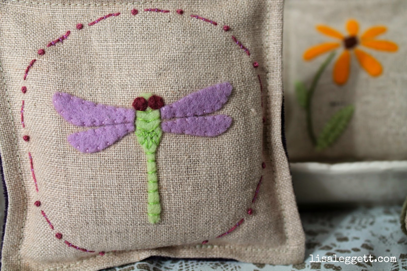 Dragonfly Linen Pincushion