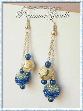 Orecchini con perle argento, blu e beaded beads