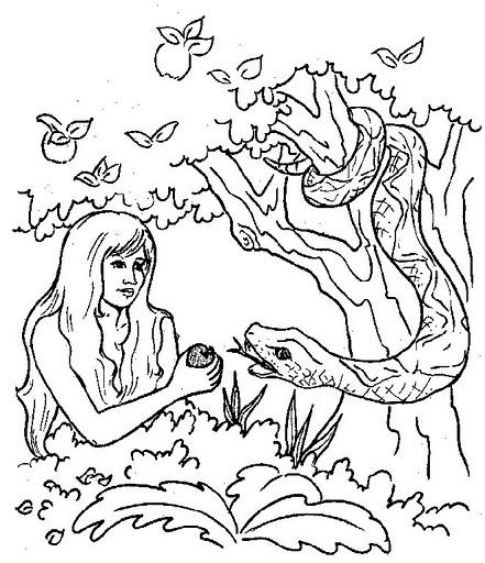 Desenhos b blicos para colorir pintar imprimir iii for Adan y eva en el jardin del eden para colorear