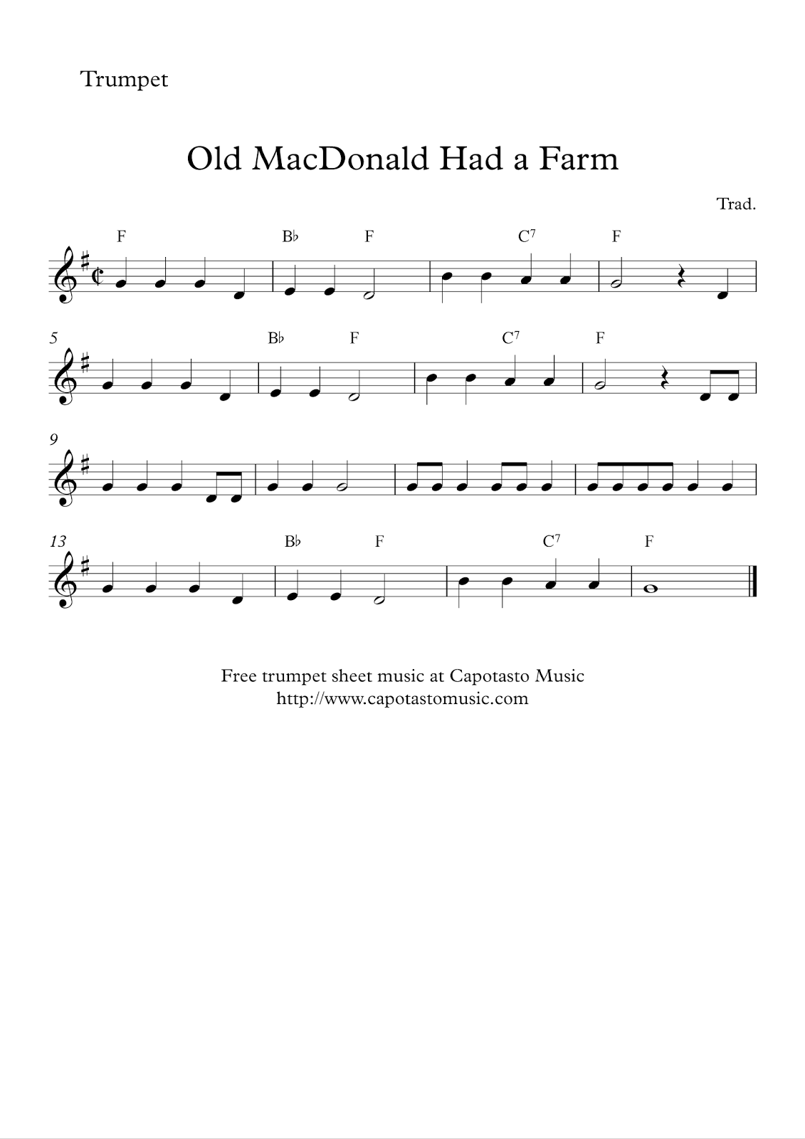 Free easy trumpet sheet music - Old MacDonald Had a Farm