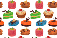 Petits Fours Watercolor Pattern by Haidi Shabrina