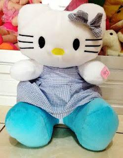 Boneka hello kitty dress biru jumbo